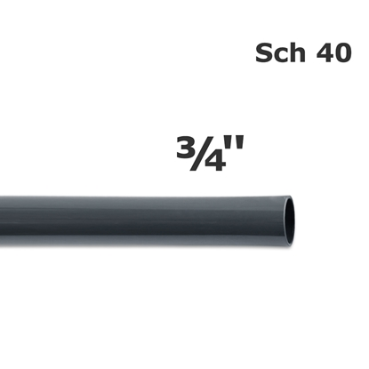 Picture of PVC sch 40 gray pipe 3/4'' (20')