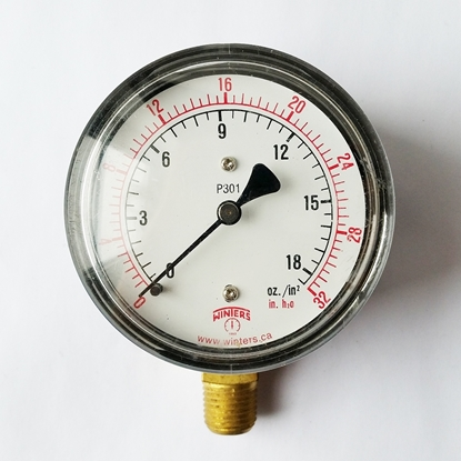 "Picture of 2 1/2"" Pressure Gauge, 0-32 PSI (0-18 bar), 1/4"" MPT, dry"